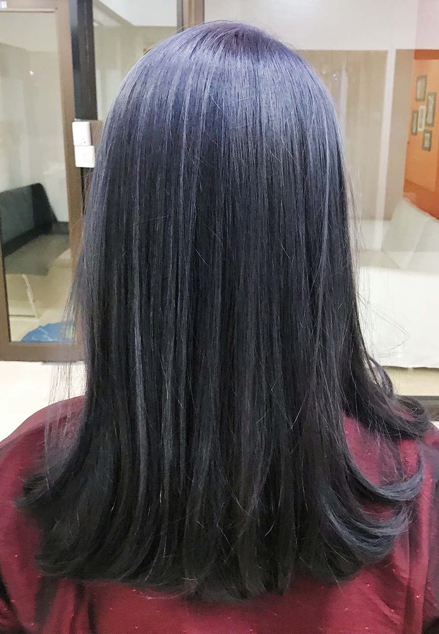 Ash Grey Blue Color - The Wiz Korean Hair Salon, Singapore
