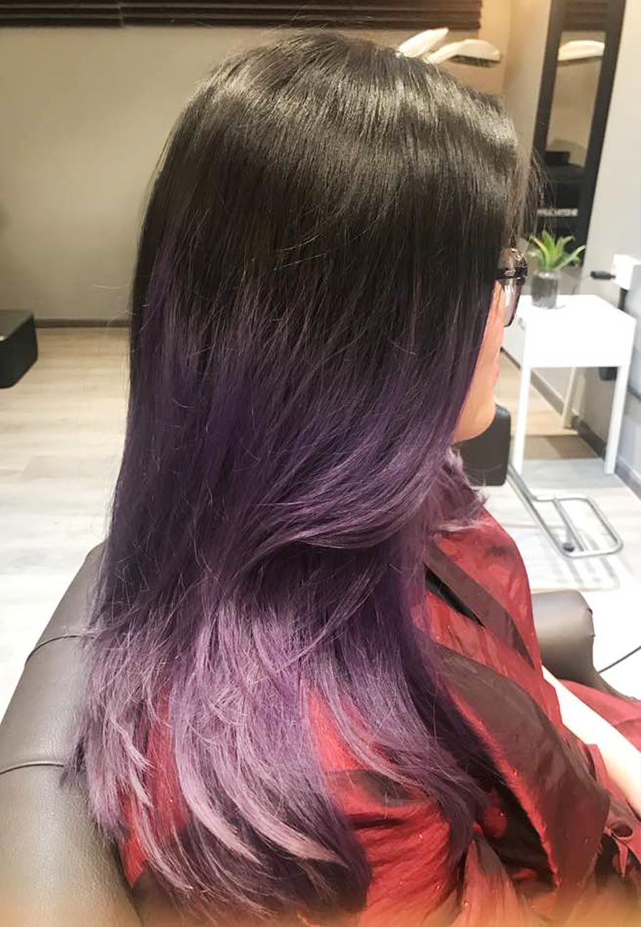 purple ombre hair color the wiz korean hair salon singapore